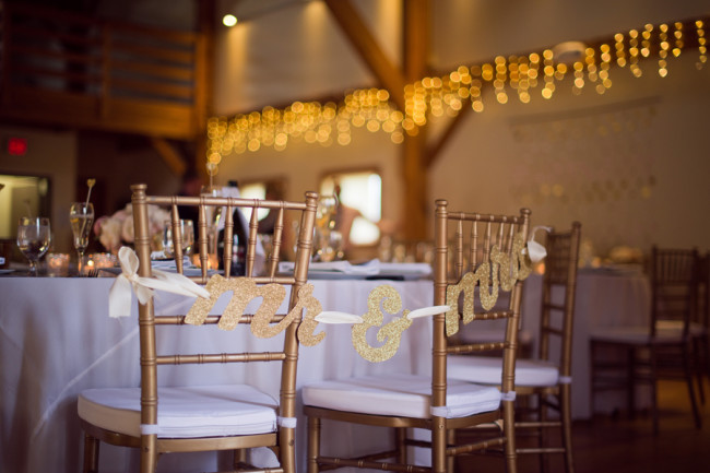 Cobblestone farm wedding reception venue - mr and mrs chairs