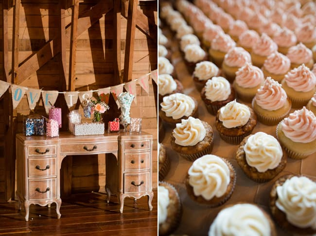 wedding reception - indoor barn vintage desk along with wedding cupcakes in a row