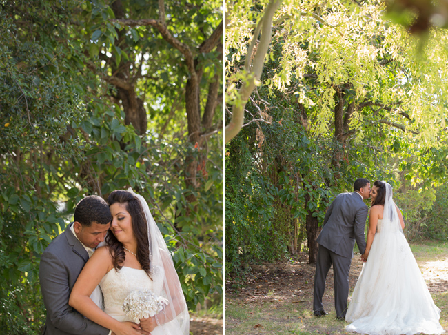 bride and groom walkin forest at Palmdale Estates