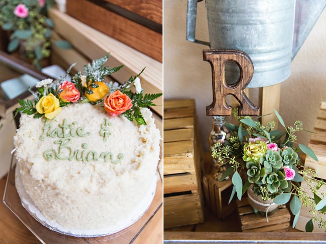 simple wedding cake with roses; plant decor