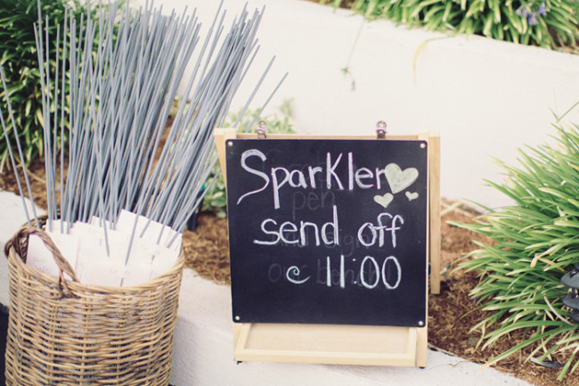 basket of sparklers with sign announcing sparkler send off later in evening