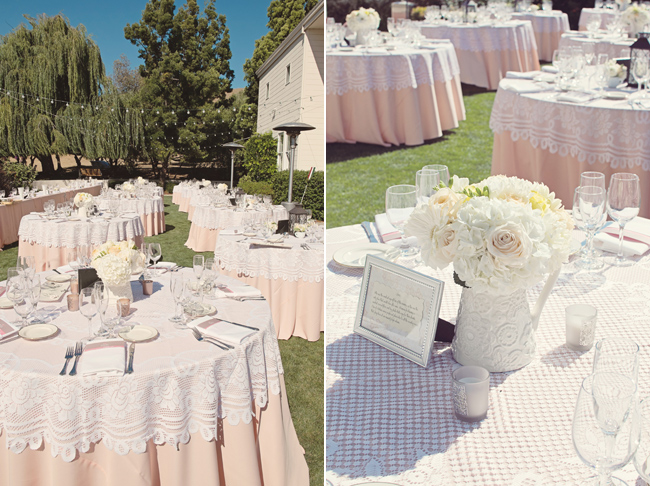 tables and floral centrepieces