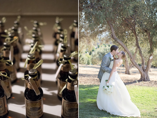 bottles of champagne favors; bride and groom sharing a kiss