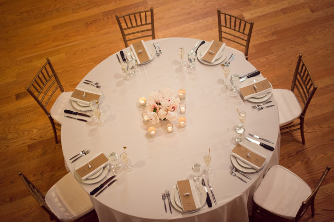 overhead view of wedding reception table at cobblestone farms