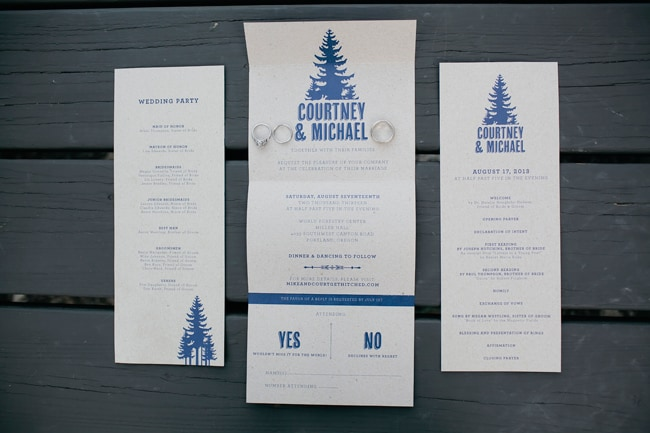 urban forest wedding designed invitations