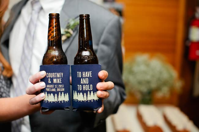 urban forest wedding beer bottles with customized beer cozzies