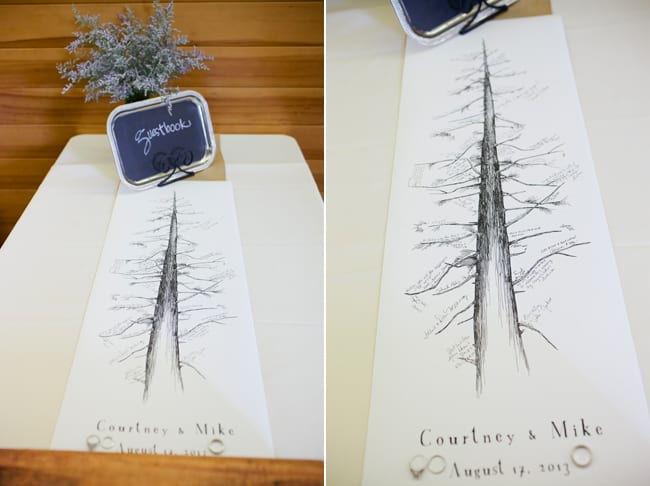 unique guestbook tall tree drawing with guest signatures
