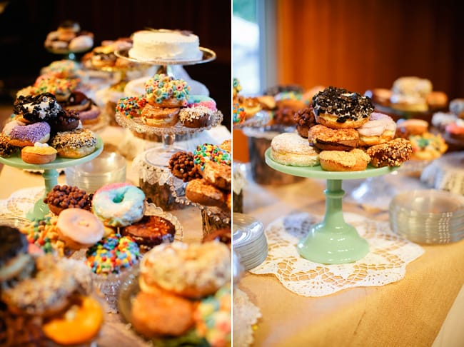 wedding dessert table with donuts covered in fruit loops, candy, chocolate, and more!