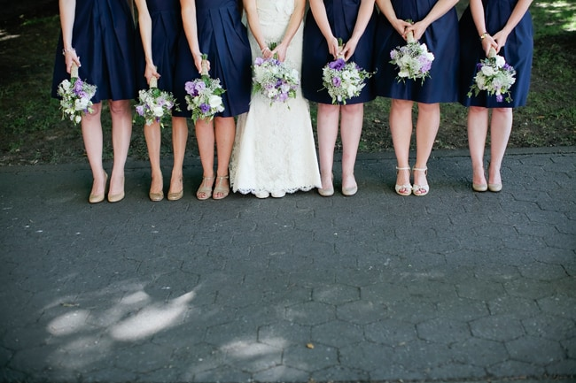 World Forestry Center bridal party with navy blue bridesmaid dresses