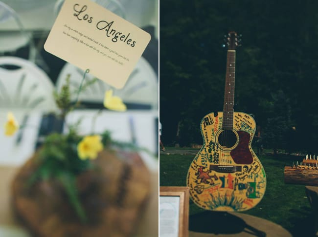 Wedding reception centerpiece with rounded paper typed card (left photo); Wedding guest book guitar with signatures all over.