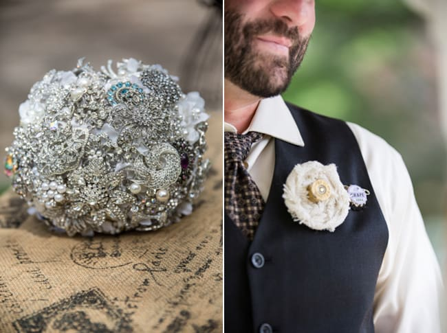 silver broach and pin bouquet