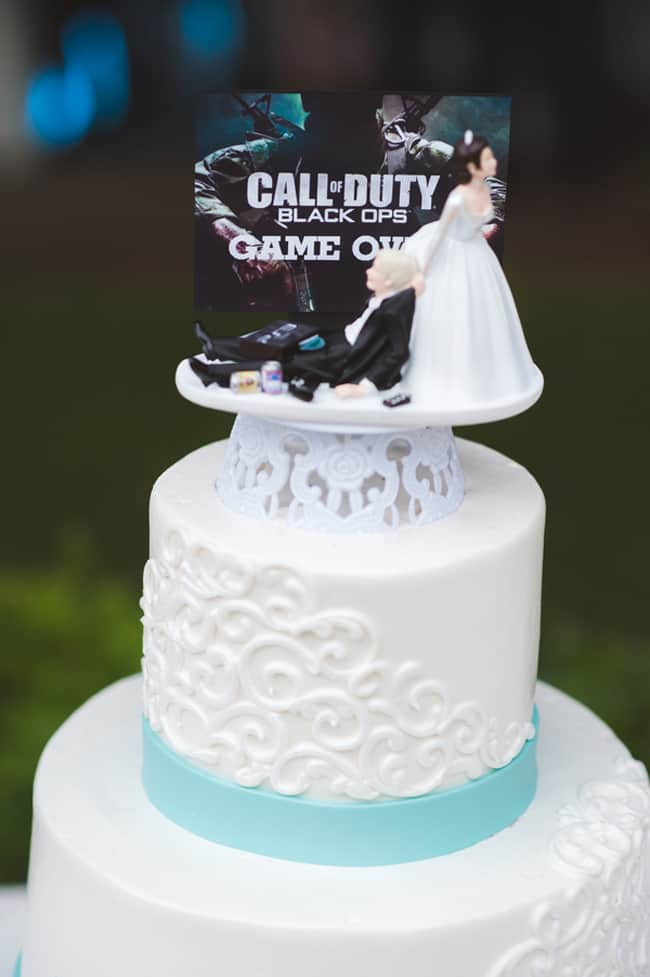 "Tiffany Blue Wedding Cake with Call of Duty ""game over"" cake topper"