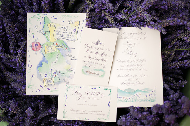lavender with calligraphy stationery