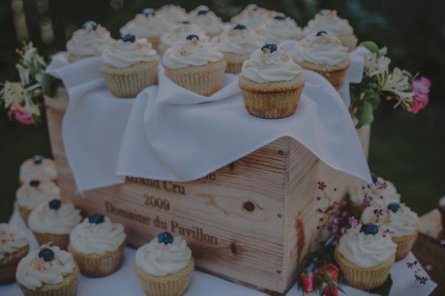 wedding cupcakes with a fresh blueberry on top