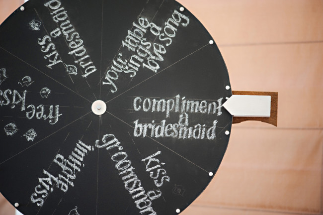 homemade chalkboard wedding kissing wheel