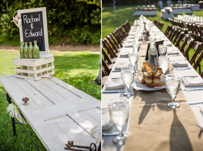 outdoor table setting with runner