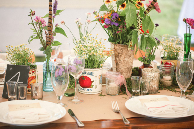 table setting and flowers