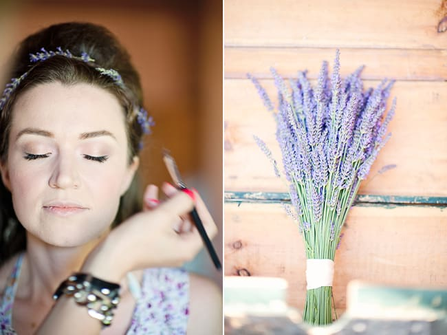 bride getting makeup done, lavender bunch