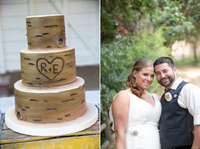 cake that looks like birch tree with R+E initials carved on side