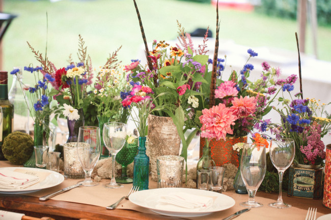 table setting with vintage glass and colorful flowers