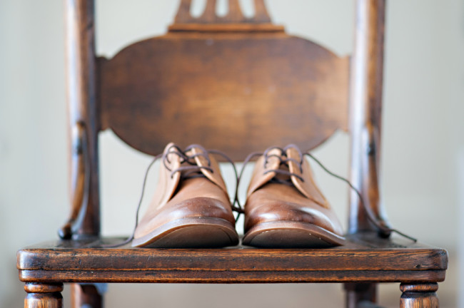 groom shoes on chair