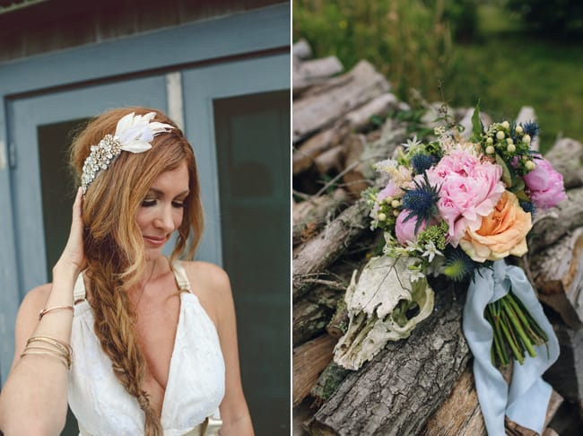 Bride with braid and headpiece (left). Bouquet with orange and pink laying on logs (right)