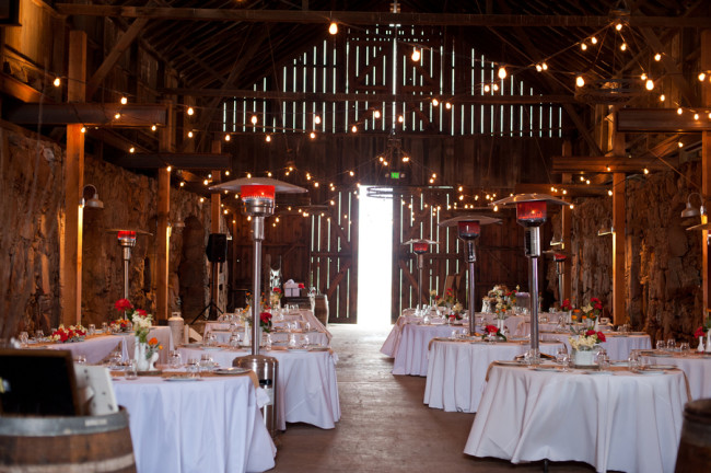 wedding reception indoors at Santa Margarita Ranch barn