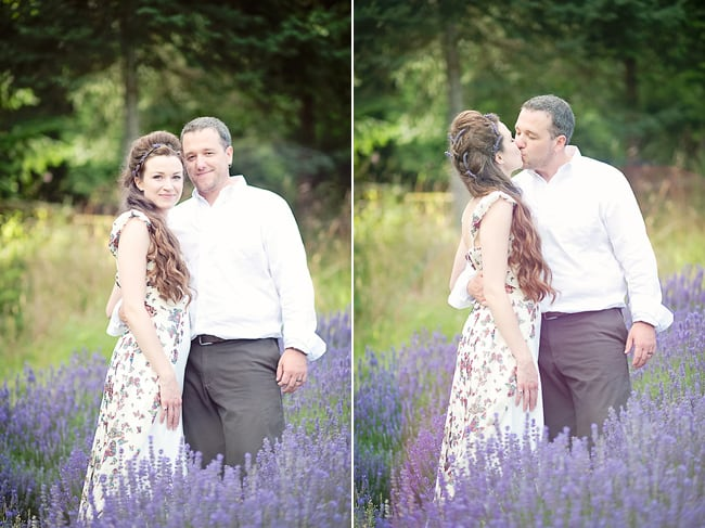 bride and groom kiss in lavender field on Salt Spring Island
