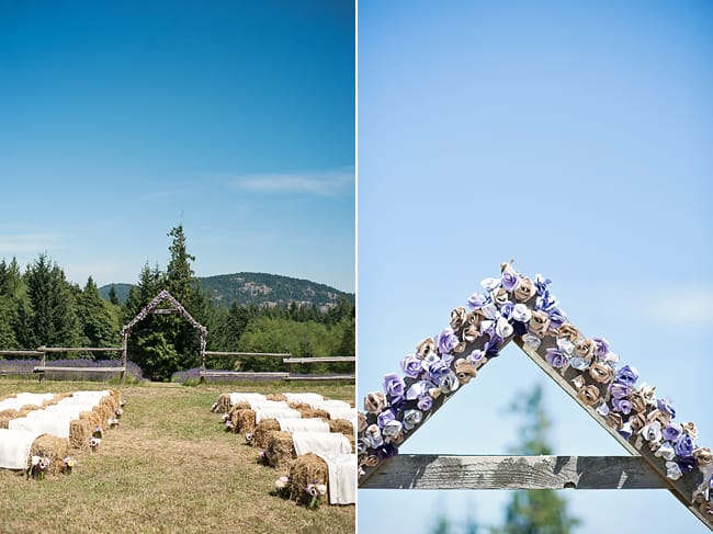 rustic wedding ceremony with wood framed alter