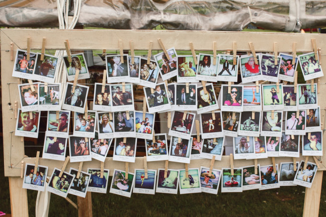Polaroid photos hung with clothespins