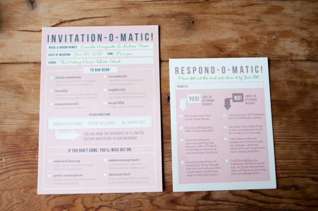 non-traditional wedding invitations and responses