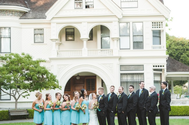 bridal party in front of Ardenwood House