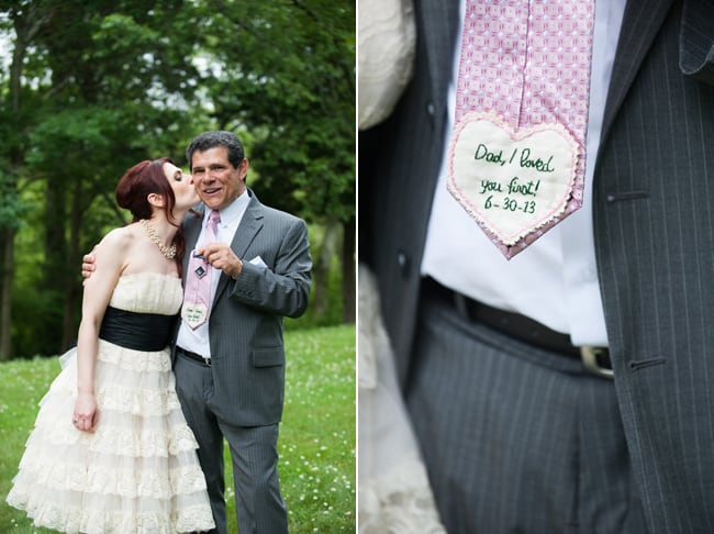 bride and father in fields; non-traditional necktie