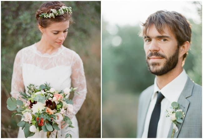 wedding bride and groom in olive grove