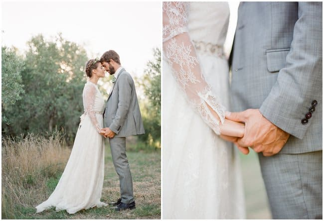 wedding bride and groom in olive grove holding hands