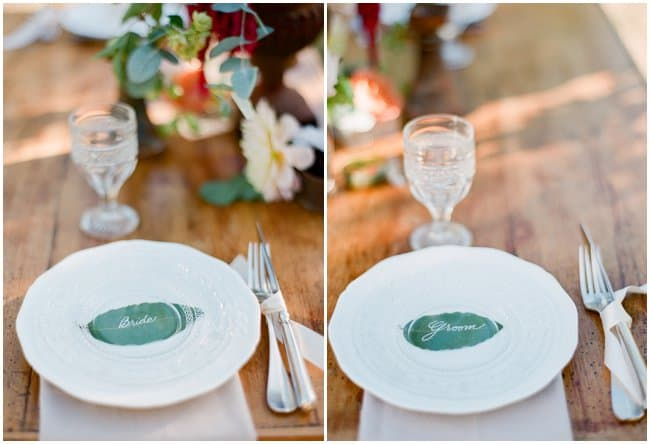 plates with bride and groom markers in shape of olive leaf