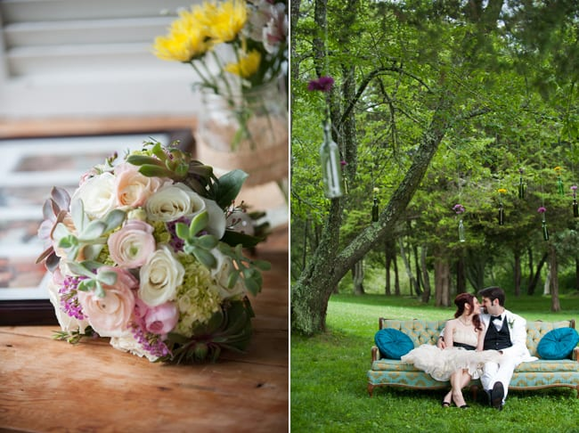 bridal bouquet; bride and groom on couch under tree with hanging bottled flower