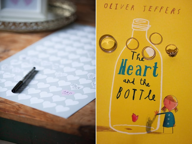 "message stickies for bride and groom; cover of book ""The Heart in the Bottle"""