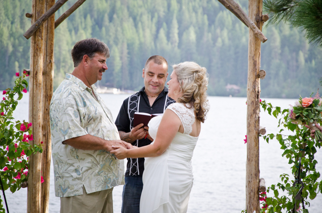 Bride and Groom ceremony lake front