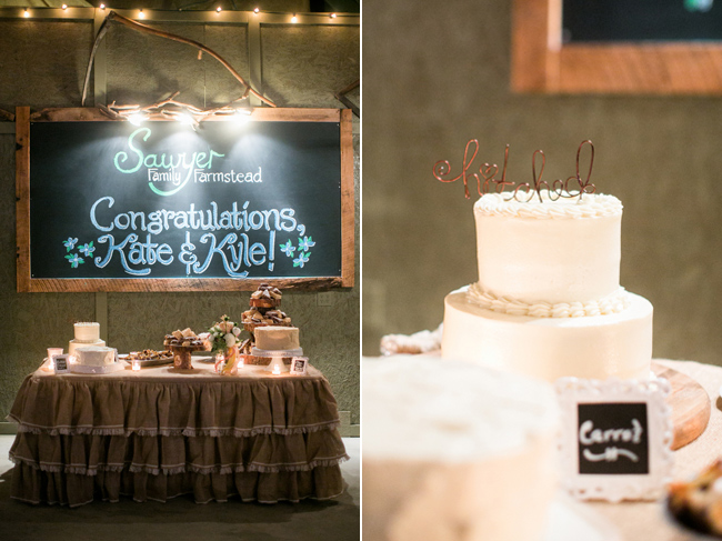 Carrot wedding cake, chalk board sign