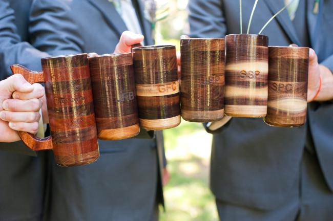 Wooden beer mugs