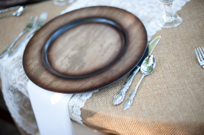 Burlape table cloth, wooden charger, place setting