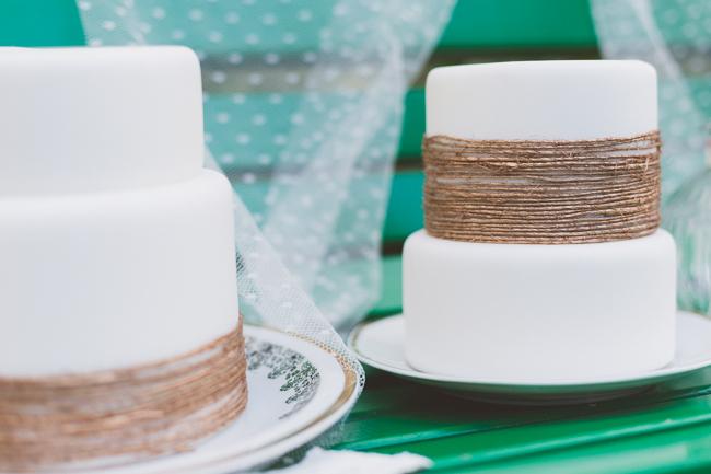 Wedding cake with twine