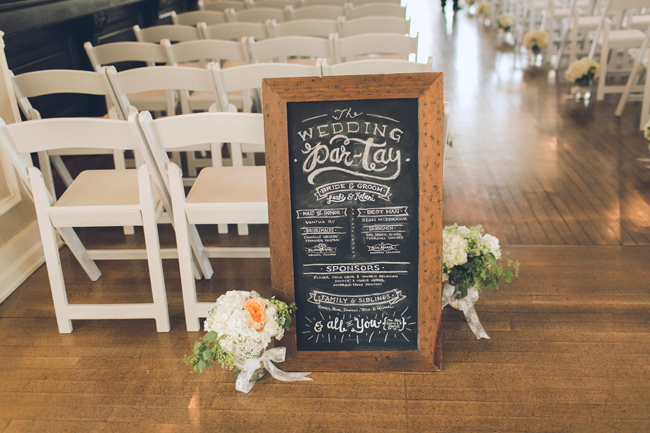 Ceremony seating, Wedding party chalk board
