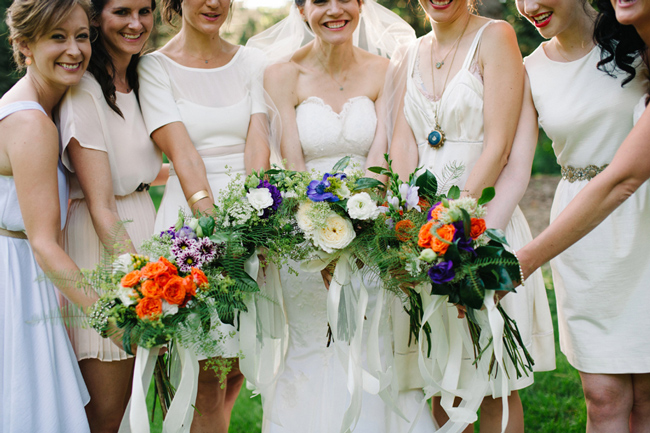 Bride and bridesmaids, bouquet
