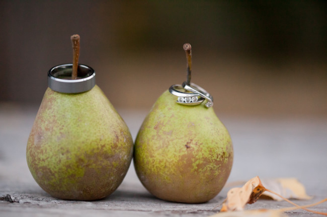 Pears with wedding rings ontop
