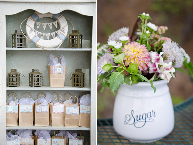 Wedding favors in paper pags and a sugar jar with flowers