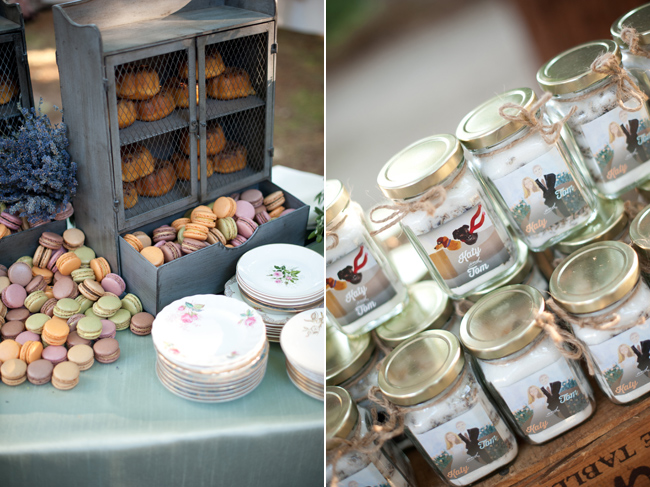 macaroons, china plates, jars of honey, wedding favors