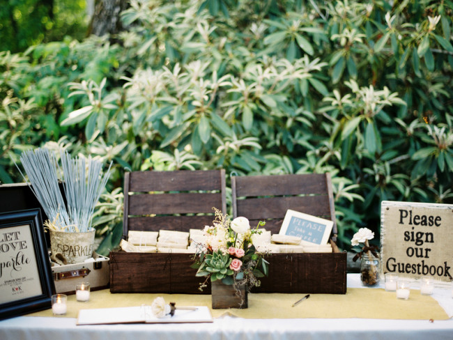 Guest book, wooden crate