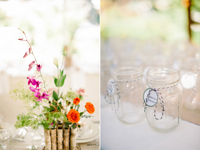 Mason jar guest glasses and flower center pieces